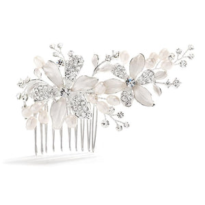 Brushed Silver Floral Wedding Comb with Freshwater Pearls and Crystals - Love Wedding Shop