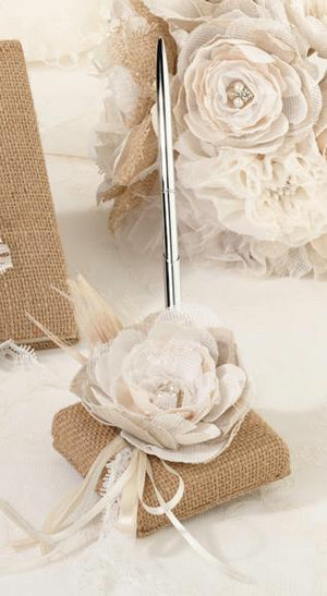 Burlap and Lace Pen Set - Love Wedding Shop