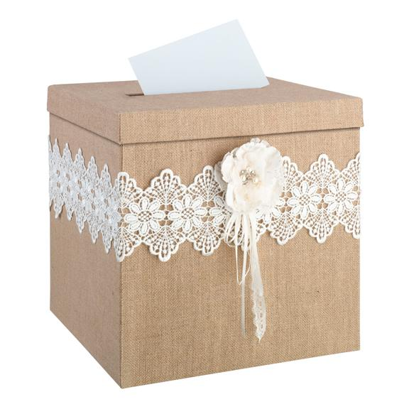 Burlap and Lace Wedding Card Box - Love Wedding Shop