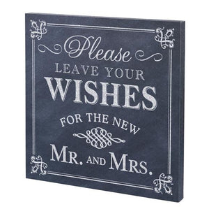 Chalk Style Leave Your Wishes Wedding Sign - Love Wedding Shop