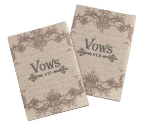 Set of 2 Tan Canvas His and Her Wedding Vow Books - Love Wedding Shop