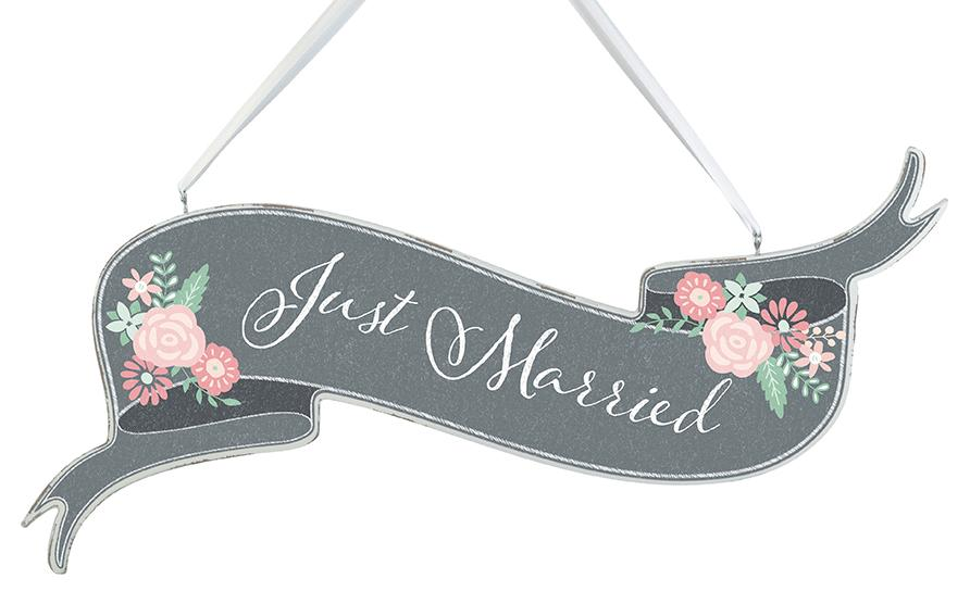 Chalkboard Style Here Comes the Bride/ Just Married Banner Sign - Love Wedding Shop
