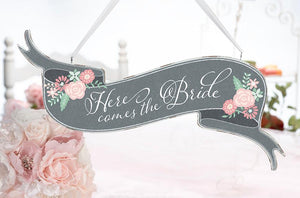 Chalkboard Style Here Comes the Bride/Just Married Banner Sign - Love Wedding Shop