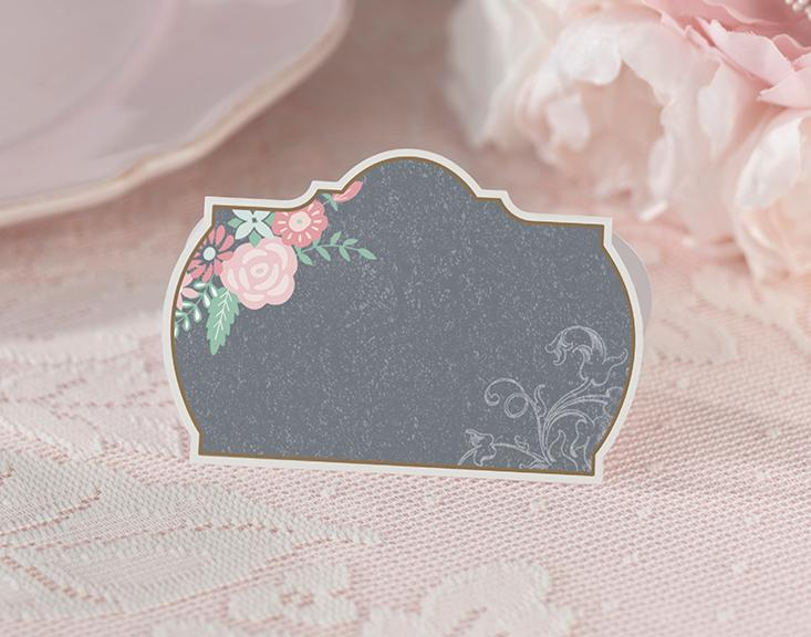 Chalkboard Style Place Cards with Pink Floral Design- Love Wedding Shop