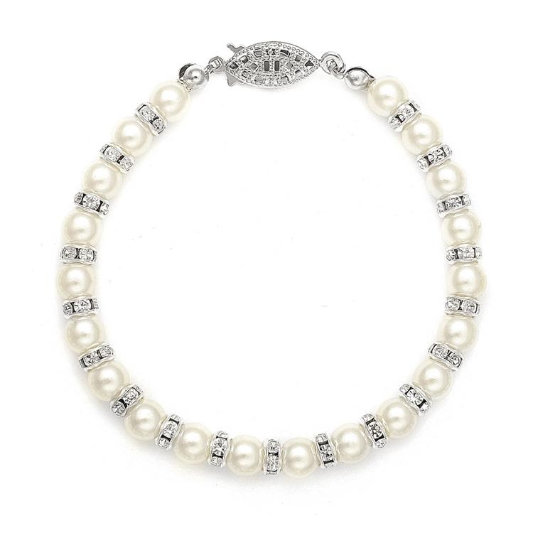 Alternating Pearl and Rhinestone Rondelle Bracelet - Love Wedding Shop