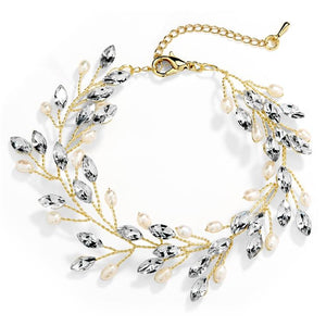 Gold Crystal and Freshwater Pearl Vine Wedding Bracelet - Love Wedding Shop