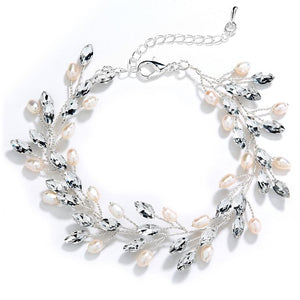 Silver Crystal and Freshwater Pearl Vine Wedding Bracelet - Love Wedding Shop