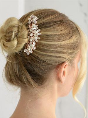 Woman Wearing Crystal and Pearl Rose Gold Bridal Comb - Love Wedding Shop