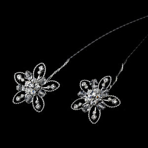 Set of 2 Crystal and Rhinestone Flower Bouquet Jewelry - Love Wedding Shop
