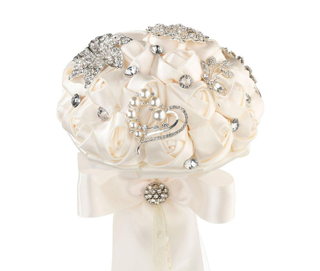 Crystal Brooch Bridal Bouquet with Ivory Satin Roses - Love Wedding Shop