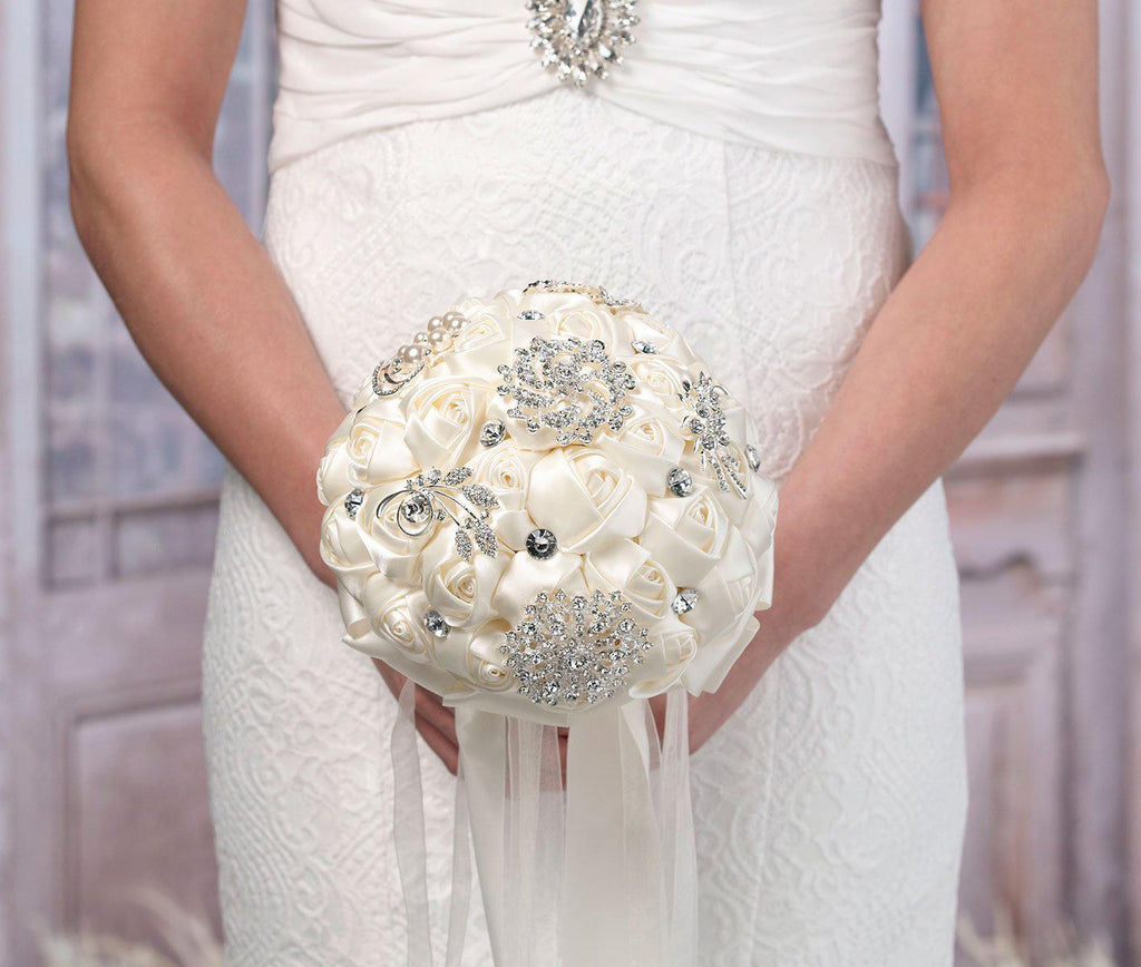 Bride Holding Crystal Brooch Bridal Bouquet - Love Wedding Shop