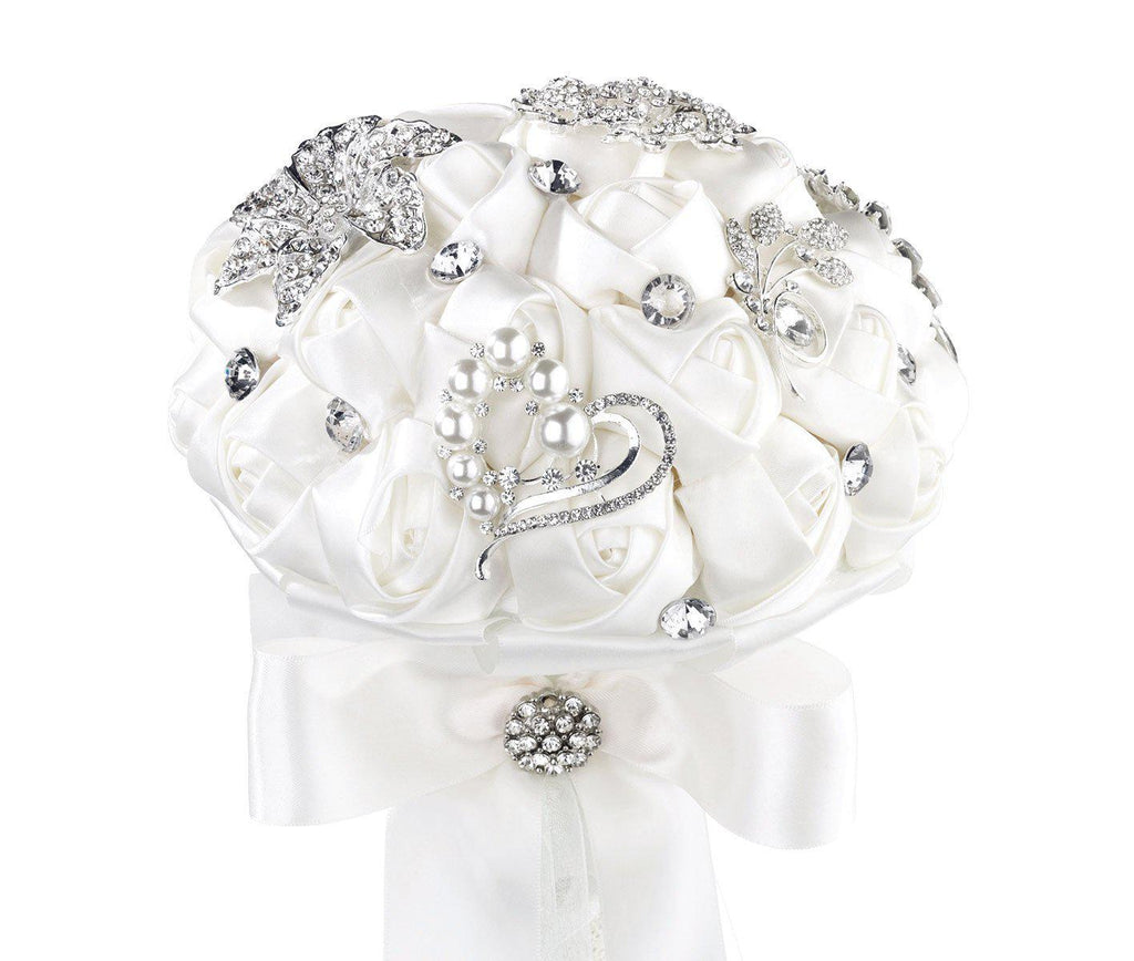 Crystal Brooch Bridal Bouquet with White Satin Roses - Love Wedding Shop