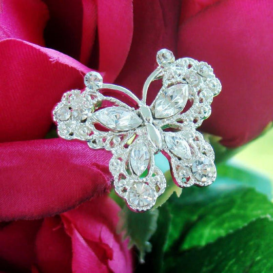 Large Crystal Butterfly Wedding Bouquet Jewelry