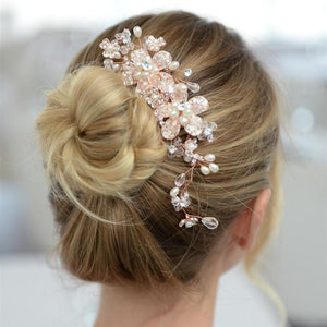 Woman Wearing Crystal Floral Rose Gold Bridal Comb - Love Wedding Shop
