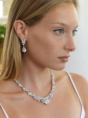 Woman Wearing Silver Plated Crystal Wedding Jewelry Set - Love Wedding Shop