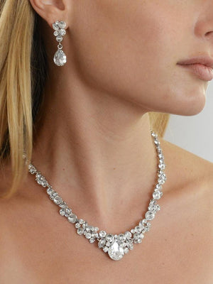 Silver Plated Crystal Wedding Jewelry Set - Love Wedding Shop