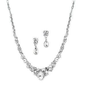 Silver Plated Crystal Necklace and Earrings Wedding Jewelry Set - Love Wedding Shop
