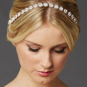 Rose Gold Wedding Headband with Genuine Preciosa Crystals - Love Wedding Shop