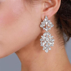 Silver Plated Austrian Crystal Statement Wedding Earrings - Love Wedding Shop