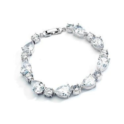 CZ Pears and Rounds Wedding Bracelet - Love Wedding Shop