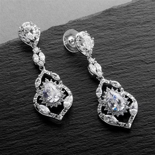 Silver Plated Cubic Zirconia Dangle Wedding Earrings - Love Wedding Shop