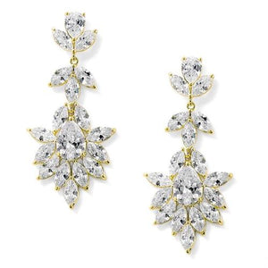 14K Gold Plated CZ Drop Wedding Earrings - Love Wedding Shop