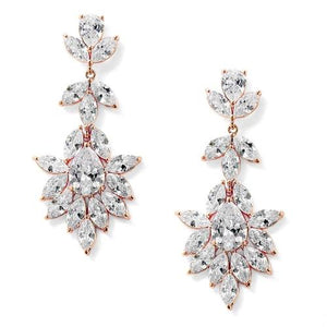 Rose Gold Plated Cubic Zirconia Drop Wedding Earrings - Love Wedding Shop