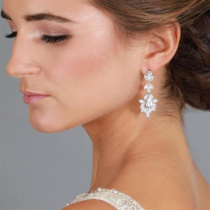 Bride Wearing Silver Platinum Plated CZ Drop Wedding Earrings - Love Wedding Shop