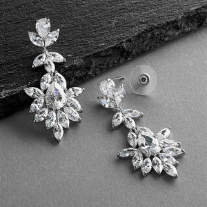 Silver Platinum Plated CZ Drop Wedding Earrings - Love Wedding Shop