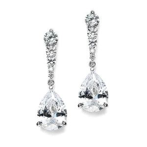 Silver Cubic Zirconia Teardrop Dangle Earrings - Love Wedding Shop