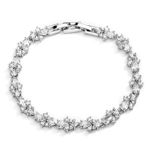 Silver Platinum Plated Pear and Round Cluster Cubic Zirconia Tennis Bracelet - Love Wedding Shop