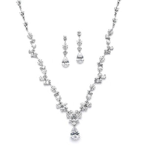 Silver Plated Cubic Zirconia Vine Wedding Jewelry Set - Love Wedding Shop
