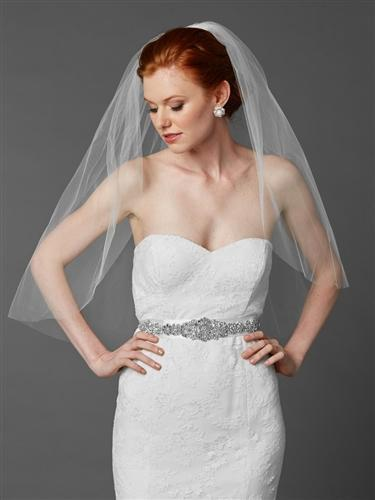 Bride Wearing White Cut Edge Elbow Length Wedding Veil - Love Wedding Shop
