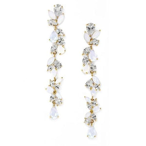 14K Gold Plated CZ and Opal Long Dangle Wedding Earrings - Love Wedding Shop