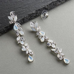 Platinum Plated CZ and Opal Long Dangle Wedding Earrings - Love Wedding Shop