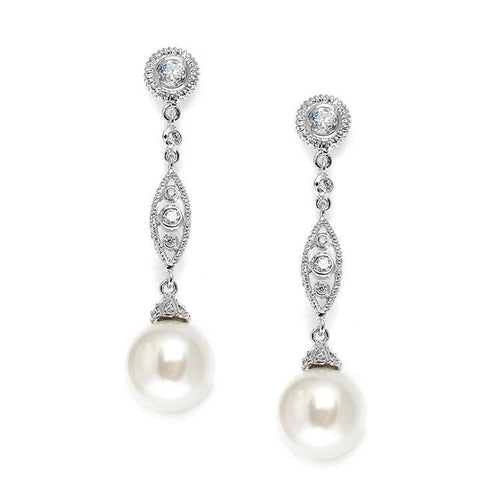 Filigree CZ and Pearl Dangle Earrings - Love Wedding Shop