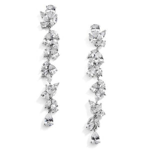 Platinum Plated CZ Long Dangle Wedding Earrings - Love Wedding Shop