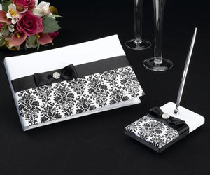 Black Damask Guestbook and Pen Set - Love Wedding Shop