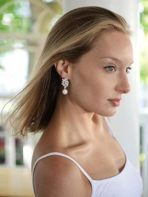 Woman Wearing CZ Cluster Pearl Drop Bridal Earrings - Love Wedding Shop