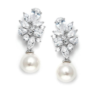 Dazzling CZ Cluster Pearl Drop Bridal Earrings