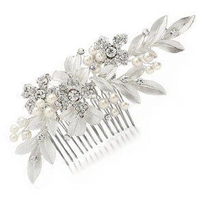 Designer Silver Floral Wedding Hair Comb with Hand-Painted Leaves and Pave Crystals - Love Wedding Shop