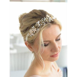 Bride Wearing Gold Vine Bridal Headband - Love Wedding Shop
