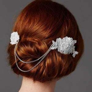 Double English Rose White Lace Bridal Comb - Love Wedding Shop