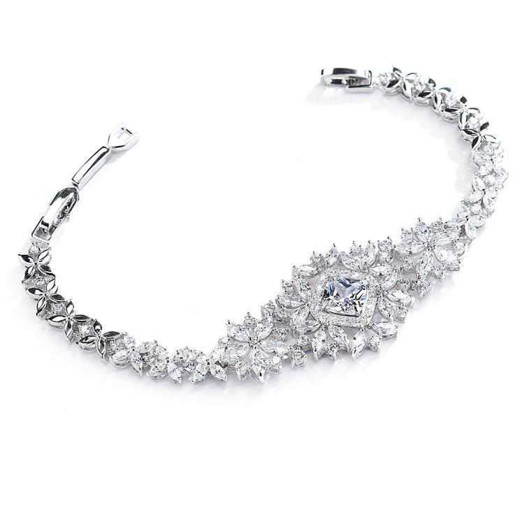 Dramatic Genuine Silver Rhodium Plated Floral Cubic Zirconia Statement Bracelet - Love Wedding Shop