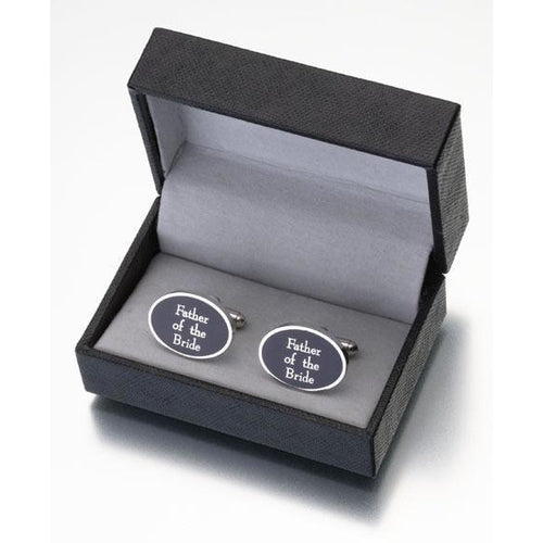 Black Oval Father of the Bride Cufflinks - Love Wedding Shop