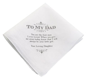 White Father of the Bride Handkerchief with To My Dad Verse Printed in Black - Love Wedding Shop