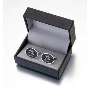 Black Oval Father of the Groom Cufflinks in Gift Box - Love Wedding Shop