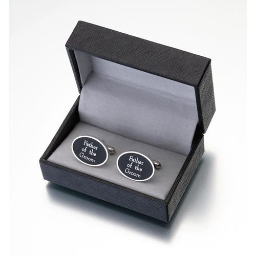 Black Oval Father of the Groom Cufflinks - Love Wedding Shop