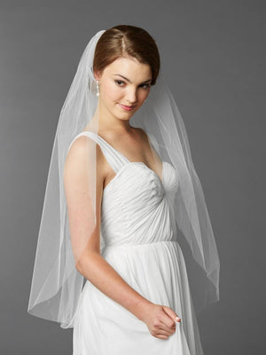 Bride Wewaring White Fingertip Length Cut Edge Bridal Veil - Love Wedding Shop