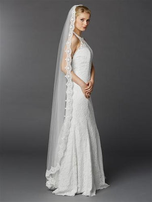 Floor Length White Mantilla Wedding Veil - Love Wedding Shop